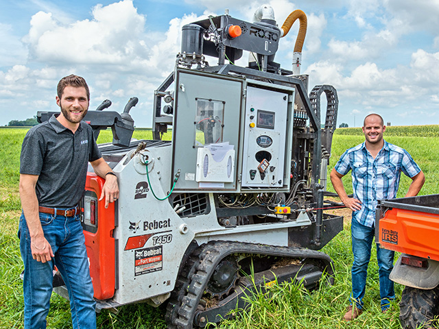 Rogo Ag's Drew Schumacher (left) and Troy Fiechter see future soil sampling as mostly automated or robotic. (Progressive Farmer image by Dave Charrlin)