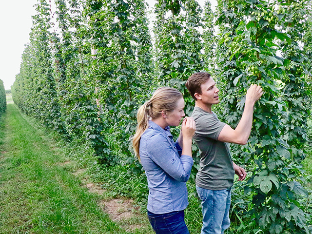 Jake and Abbey Sass are creating new and value-added revenue by adding hops and possibly branded beef to their Minnesota farming operation. (Progressive Farmer image by Des Keller)