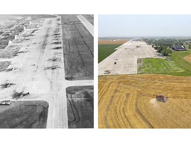 Between 1943 and 1945, Walker Army Airfield trained thousands to fly the B-29 bomber, but, today, wheat flies off that same field. (Progressive Farmer image by USAAF and Joel Reichenberger)