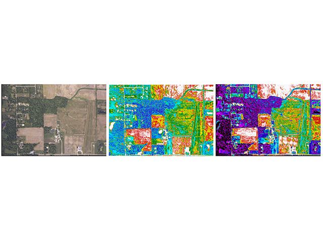 Three views from Brian Sutton's farm: The first is a regular aerial photo (RGB). The second is known as NDVI and combines information from a regular photo as well as a near-infrared image (NIR). The third is AirScout's propriety ADVI image, which delineates actual zones within a field with more specificity and is valuable for determining the plantability of a field on bare soil. (Progressive Farmer image by AirScoutâ??andâ??Brian Sutton)