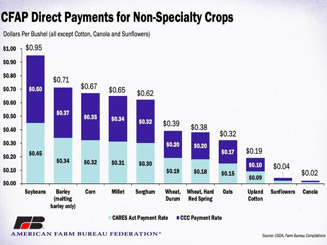 The American Farm Bureau Federation highlighted the CFAP payment rate under funds provided by the CARES Act and funds from the Commodity Credit Corp. for each commodity. (Chart courtesy of AFBF)