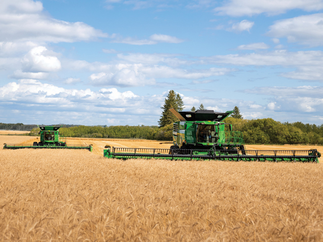 The new John Deere X9 Combine can harvest up to 30 acres of wheat per hour. (Photo courtesy of John Deere)