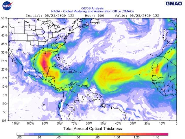 Bright-green, yellow and red in atmosphere aerosol analysis shows the extent of the Sahara Desert dust cloud crossing the Atlantic Ocean and swirling into the U.S. (NASA graphic)