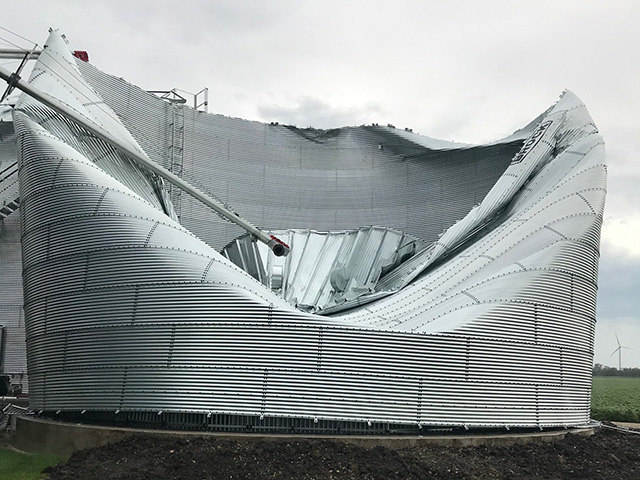 Mazon, Illinois, farmer Paul Jeschke's farm sustained severe damage to grain storage from Monday's derecho that tracked across the Midwest. (Photo courtesy of Paul Jeschke)