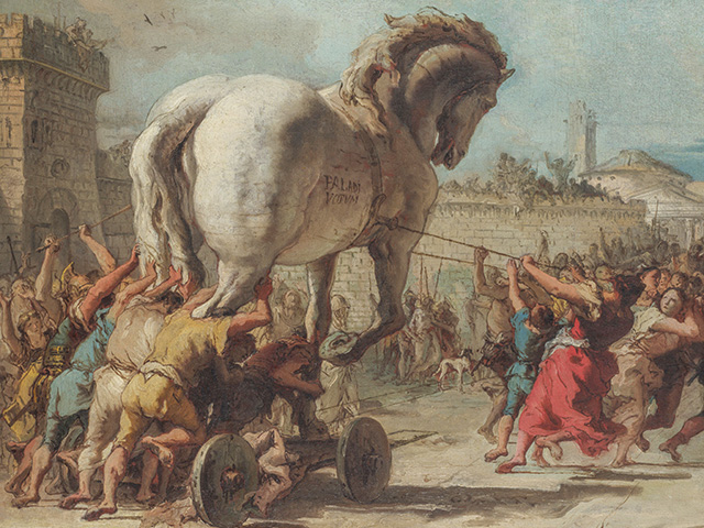 Are the seeds allegedly from China a modern-day trojan horse or a marketing ploy? (Giovanni Domenico Tiepolo's The Procession of the Trojan Horse into Troy, Public Domain)