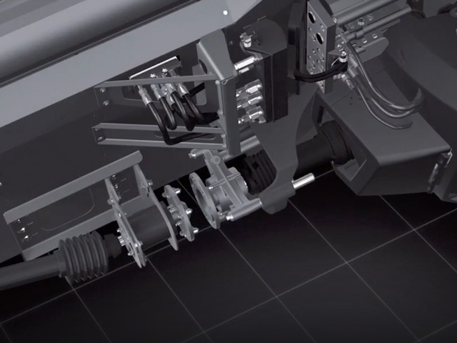 The image captured here from an animation shows how the header and combine are connected by the operator from the cab. (Photo courtesy of AGCO Corp.)