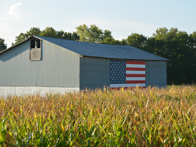 A barn just outside of Dearborn, Missouri, reflects some of the patriotism of the barn's owner. With 55 days until the presidential election, the American Farm Bureau Federation on Wednesday released a questionnaire on agricultural and rural issues with responses from President Donald Trump and former Vice President Joe Biden. (DTN photo by Chris Clayton)