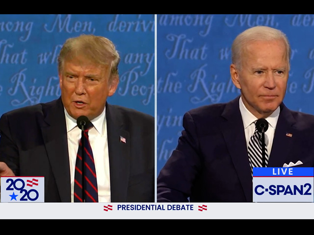 President Donald Trump and former Vice President Joe Biden during their first debate in late September. Biden has laid out a detailed tax plan that would reverse many of the tax cuts signed by Trump in 2017 for people making $400,000 or more. (DTN screenshot from C-SPAN2)