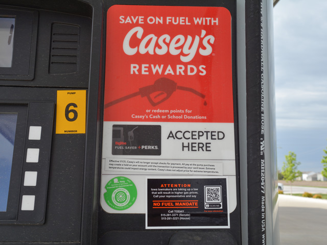 Casey's General Stores Inc. is among several small-town convenience store chains opposed to legislation in Iowa to mandate the sale of E15 and biodiesel blends of 11% at gasoline stations across the state. (DTN/Progressive Farmer photo by Matthew Wilde)