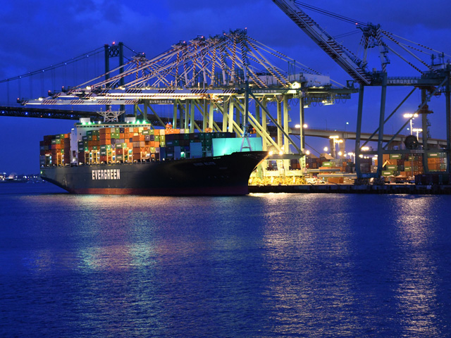 Container shipping is still slow to return to normal after the trickle-down effect of the pandemic caused stoppages and/or slowdowns around the globe. (Photo courtesy of Joseph L. Murphy, Iowa Soybean Association)