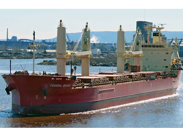Federal Biscay, a 656-foot bulk carrier owned by Montreal-based Fednav, will earn the first ship distinction of 2021 in Duluth, Minnesota, completing the season's first full transit of the St. Lawrence Seaway en route to the Great Lakes' westernmost port, Duluth-Superior Harbor. (Photo by Duluth Shipping News)