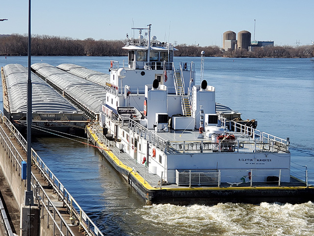 Motor vessel R. Clayton McWhorter was locked through Lock and Dam 3, near Welch, Minnesota on March 19, pushing 12 barges heading to St. Paul, Minnesota. The tow marks the unofficial start of the 2021 navigation season. Last year's season started March 18. (Photo courtesy of USACE St. Paul District)