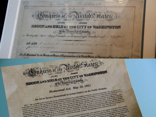 In 2012, the United States marked the 150th anniversary of the Homestead Act of 1862 by temporarily loaning for public display the original document signed into law by President Abraham Lincoln. The rare complete document was shown at the Homestead National Monument of America near Beatrice, Nebraska.  (DTN photos by Elaine Shein)