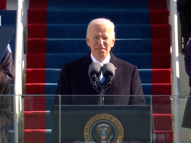 President Joe Biden, giving his swearing-in speech Wednesday afternoon, called for unity in the country moving forward. Getting to work, Biden signed at least 17 executive actions after entering the White House on issues ranging from the coronavirus to immigration and climate change. (Image from livestream)