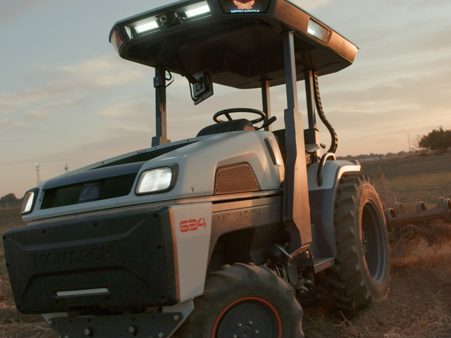 The all-electric Monarch tractor will collect and analyze 240 gigabytes of crop data every day it operates. Utilizing machine learning, the Monarch can digest this data and provide long-term analysis of field health, improving its accuracy the longer it runs. (Photo courtesy of Monarch Tractor)