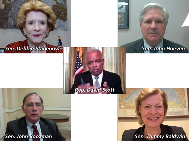 The chairs and ranking members of key Senate committees, and the House Agriculture Committee chairman, each met with reporters Tuesday through livestream events. Climate legislation and using commodity funds were among the main topics. (DTN images from livestream)