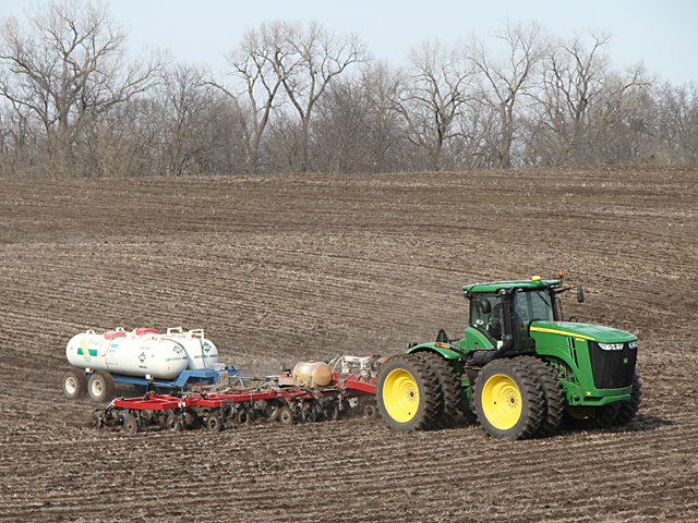Delayed fieldwork this cool spring put a chill on fertilizer and seed sales. (DTN photo by Pam Smith)