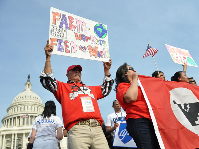 Farm workers rallied for immigration reform in 2013 but they oppose the guest-worker provisions being debated in the House now. (DTN file photo by Chris Clayton)