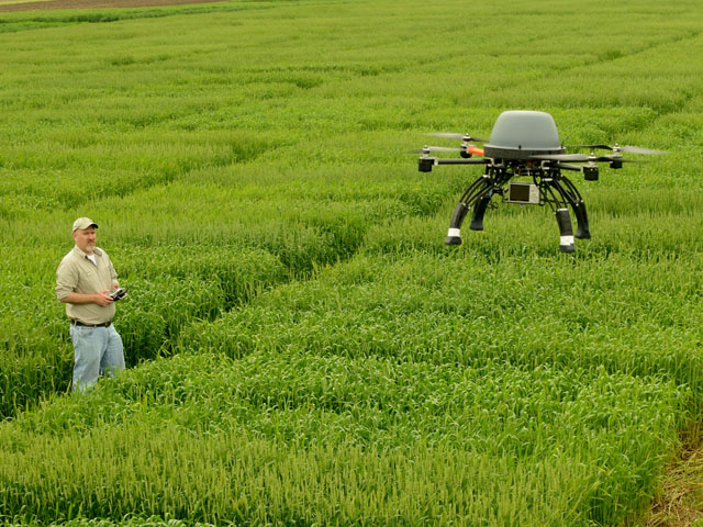 A new study examines some of the benefits of using drones in agriculture. (DTN/The Progressive Farmer photo by Jim Patrico)