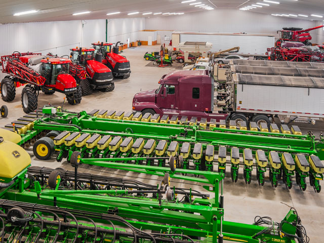 The Future Vision Farm of Kathryn, N.D., built a monster shop to store and service machinery to keep the operation humming. (DTN/The Progressive Famer photo by Rob Lagerstrom)