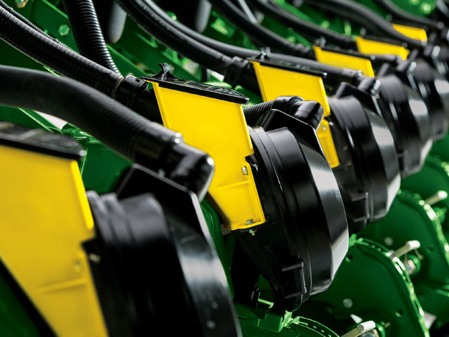 Engineers completely redesigned the seed delivery system to make the ExactEmerge system capable of placing seed in the trench at speeds almost twice as fast as recommended in the past. (Photo courtesy of John Deere)
