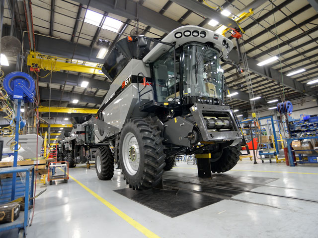Factories like AGCO's combine assembly plant in Hesston, Kan., produce machines that not only help farmers, they help the whole economy. (DTN/The Progressive Farmer photos by Jim Patrico)
