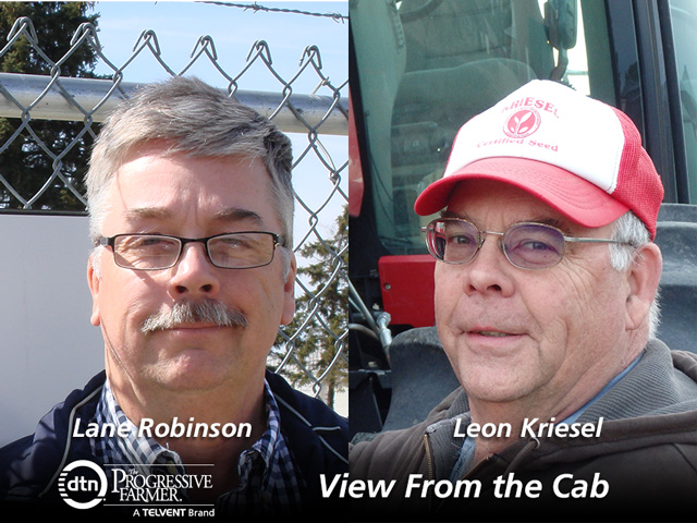 2015 DTN View From the Cab participants Lane Robinson and Leon Kriesel. (DTN photo illustration by Nick Scalise)