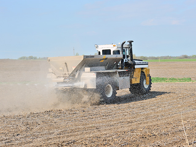 Being able to calculate how much fertilizer to put on to apply the right amount of nitrogen is important. (DTN/The Progressive Farmer file photo by Jim Patrico)