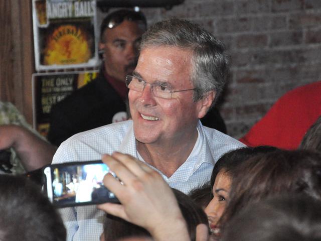 Former Florida Gov. Jeb Bush, a 2016 Republican presidential candidate, speaks to a packed crowd at Barley's Pub in Council Bluffs, Iowa, on Tuesday. (DTN photo by Chris Clayton)