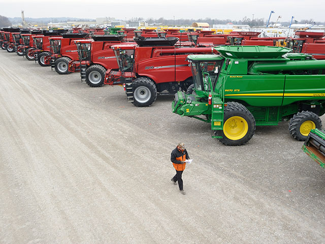 A glut of used farm equipment could hang over the industry until 2017, depressing resale values in the interim, Rabobank forecasts. (DTN/The Progressive Farmer file photo by Jim Patrico)