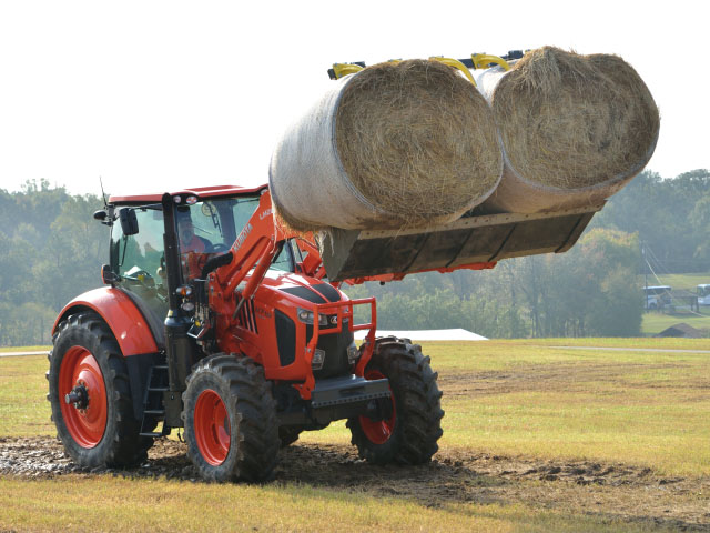 Kubota showed off the working power of its mid-range M7 tractors at a recent dealer meeting near Atlanta. But the company had to tell dealers delivery of the tractors would be delayed until early next year to fix minor problems. (DTN/The Progressive Farmer photo by Jim Patrico)