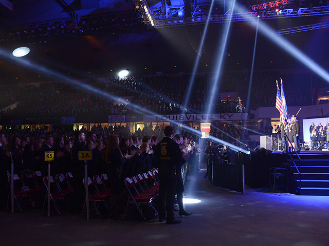 By Thursday night of the 2015 National FFA Convention, over 60,000 members, advisors and guests had descended upon Louisville, Ky. (DTN/The Progressive Farmer photo by Virginia Harris)
