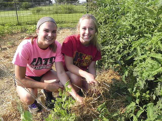 Abby Lindsey (left) and Logan Stufflebeam helped weed, mulch and harvest fresh produce in the Nevada, Iowa FFA garden this past summer. The high school sophomores attended the 2015 National FFA Convention in Louisville, Kentucky, last week along with advisor Kevin Cooper and several other chapter members. (Photo courtesy of Kevin Cooper/Nevada FFA Chapter)