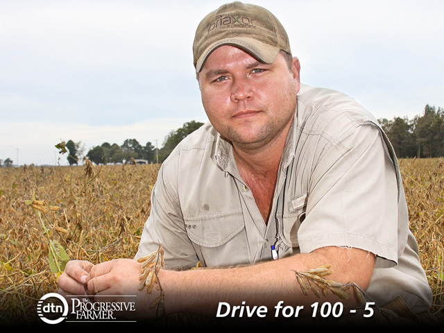 Jason Smith's nonbiotech, mostly Group IV soybeans, average 57 bushels per acre across his Arkansas farm. (DTN/Progressive Farmer photo by Patrick R. Shephard)