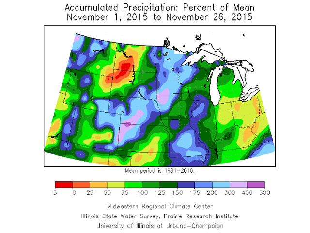 A large majority of the central U.S. crop belt has taken in above to much above normal precipitation during November. (Midwest Climate Center graphic by Scott Kemper)