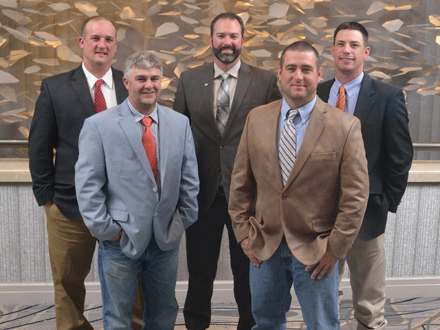 Pictured are the 2016 DTN/the Progressive Farmer Best Young Farmers and Ranchers Program honorees. Front row, left to right: Bo Norris, South Carolina; Marty Williams, Oklahoma. Back row, left to right: Andrew Crush, Virginia; Matthew Elfrid, California; Cody Goodknight, Oklahoma. (DTN/The Progressive Farmer photo by Jim Patrico)