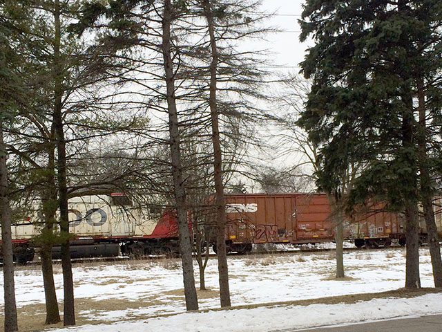 A Canadian Pacific train runs through the Twin Cities corridor in St. Louis Park, Minnesota. (DTN photo by Mary Kennedy)