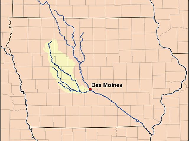 Des Moines Water Works General Manager Bill Stowe spearheaded a first-of-its-kind lawsuit that claims nutrient runoff from agriculture in the Raccoon River watershed pollutes the water the utility uses to supply drinking water to customers (Raccoon River Watershed map courtesy of the USGS and Kmisser, CC-SA)