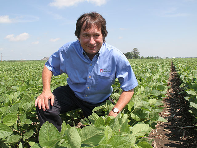 Continuing to urge more production from each soybean acre is Fred Below's mission. (DTN photo by Pamela Smith)