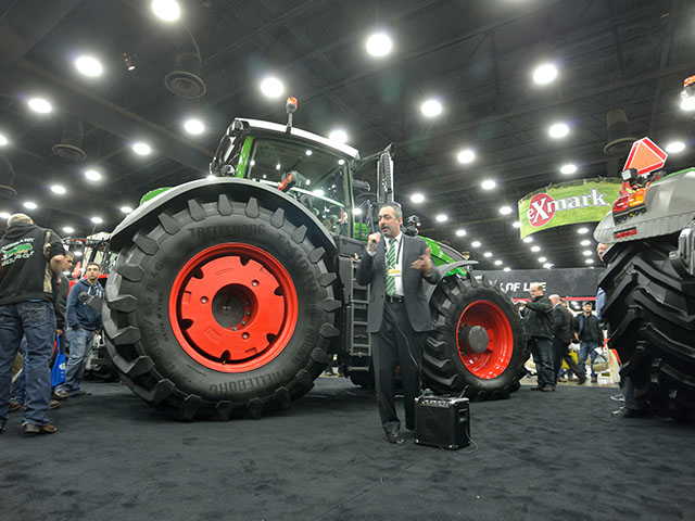 The new 1000 Vario tractors from Fendt made their debut at the National Farm Machinery Show in Louisville. Doing the introductions was Josh Keeney, tactical marketing manager for Fendt. (DTN/The Progressive Farmer photo by Jim Patrico)