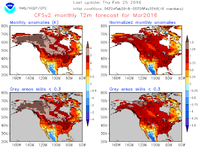 Canada Map Of Monthly Forecast W. Canada March Weather Outlook
