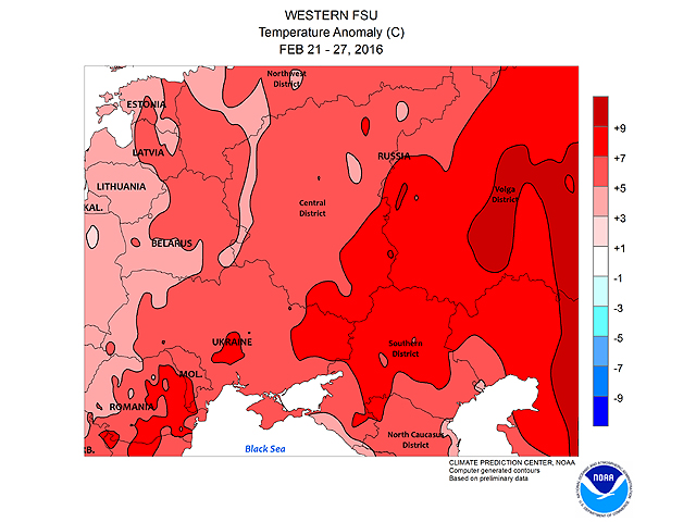 The temperature anomaly from Feb. 21 to 27 shows how much warmer than normal the weather has been in Europe, which led to protective snow cover being melted. (Graphic courtesy of NOAA Climate Prediction Center)