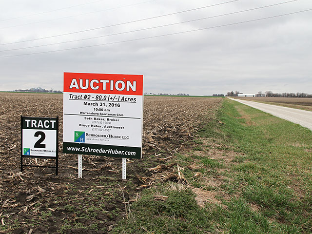 Experts say it takes top-quality ground and financially strong neighbors to generate eye-popping auction valuations. Most land sales don't end up that way. (DTN photo by Pam Smith)
