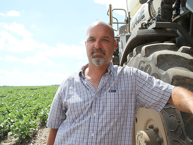 Kirk Martin is facing the reality that he probably won't have dicamba herbicides to use over the top of the soybeans he'll plant this year. (DTN photo by Pamela Smith)