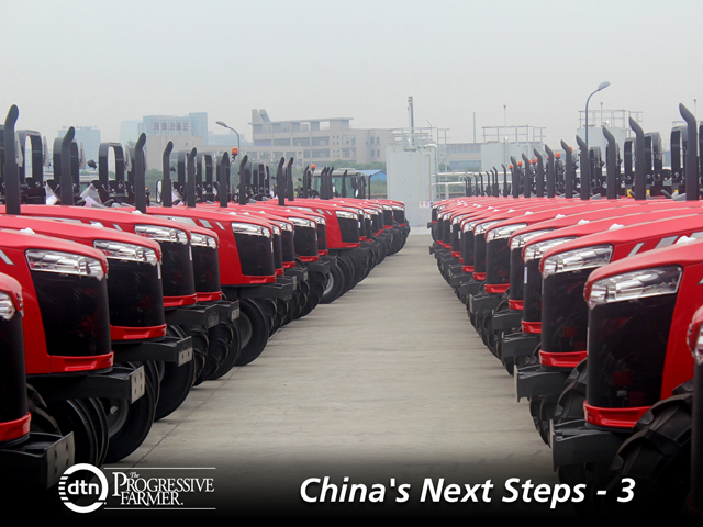Massey Ferguson Global tractors wait outside the Changzhou, China, factory opened by AGCO in 2015. (DTN/The Progressive Farmer photo by Jim Patrico)