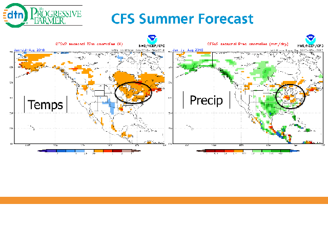 The U.S. forecast model continues to suggest warmer and drier trends in the Midwest during summer, thus affecting final crop yield potential. (NOAA Graphic)