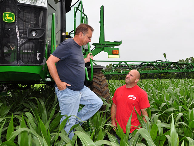 Getting just the right amount of nitrogen to the corn when its needed is the goal for Mike and Jeff Starkey, Brownsburg, Indiana. (Photo by Lynn Betts)