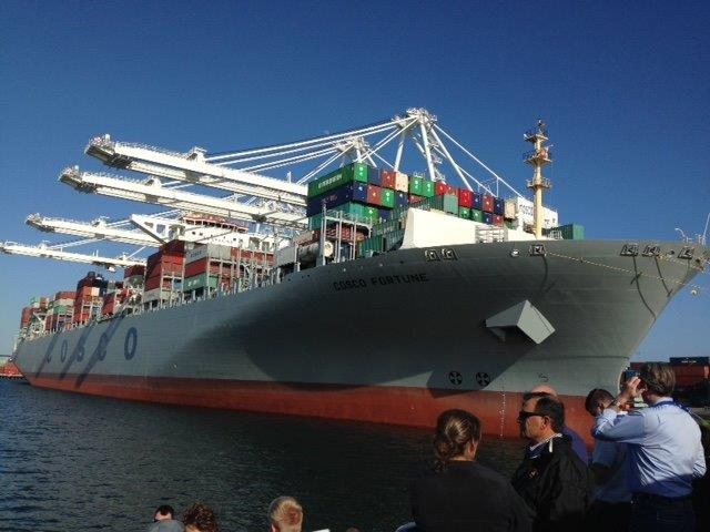 A Cosco container ship docked at the Port of Long Beach California. (Photo courtesy of Midwest Shippers Association)