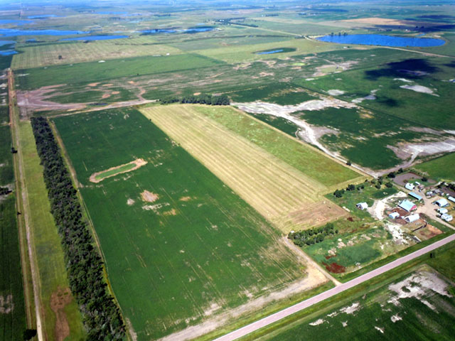 South Dakota farmer Arlen Foster asked the U.S. Supreme Court to consider a USDA procedure to determine wetlands on a 0.8 acre area of land in the Prairie Pothole region. Foster contends snow melt from a tree belt (pictured lower left) is the source of standing water. (Photo courtesy of the Pacific Legal Foundation)