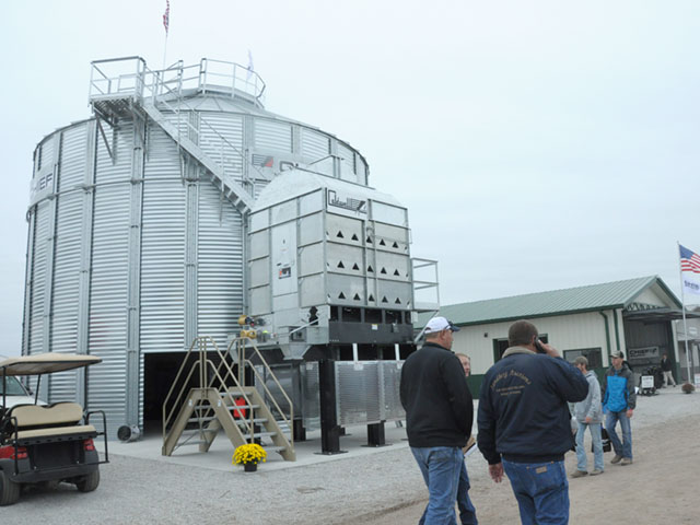 Grain bin manufacturers display their products at the 2016 Husker Harvest Days farm show in Grand Island, Nebraska. (DTN photo by Russ Quinn)